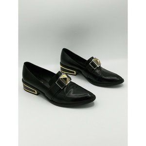 Rachel Zoe Pointed Black Loafers With Gold Accent